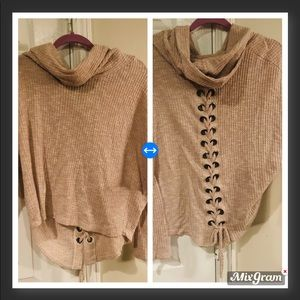 Ariella Cowl Neck Grommet Lace back Tan sweater S